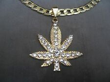 "Gold Plated WEED Marijuana Pendant ICED W CZs w 27"" YELLOW GOLD TONE Link Chain"