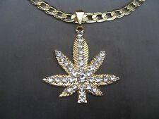 "Gold Plated WEED Marijuana Pendant ICED W CZs w 27"" YELLOW GOLD TONE Link Chain"