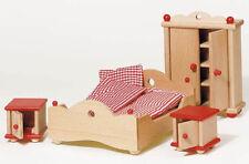 Puppenhausmöbel natur SCHLAFZIMMER Puppenmöbel Biegepuppen aus Holz Bauernhaus