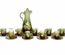Antique Chocolate Set, Porcelain, Pitcher, Cups, Hand Painted, Ca,1910 Gorgeous