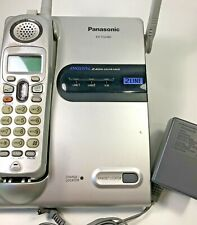 Panasonic Cordless 2 Line Phone Handset Base Silver Black Landline KX-TG2480S