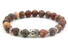 8mm Leopard jade Bracelet Spirituality men Tibet silver pray yoga Unisex