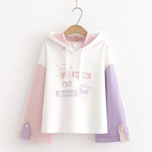 Kawaii Clothing Ropa Cute Hoodie Milk Juice Preppy Style Pullover Sweatshirt