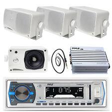"3.5"" Marine Pyle Box Speakers,PLMRB29W USB AM FM Marine Radio,400W Amp, Antenna"