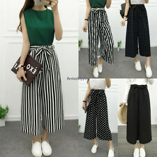 Summer Korean Women Chiffon Stripe Wide Leg High Waist Loose Crop Pants Trousers