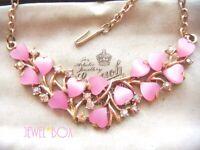 VINTAGE Adorable Pink LOVE HEARTS Thermoset Aurora Borealis Crystal NECKLACE