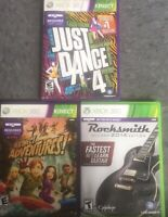 XBOX 360 KINECT GAME LOT JUST DANCE 4 KINECT ADVENTURE ROCKSMITH 2014