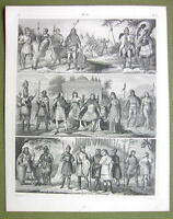 ANCIENT TRIBES Europe Goths Britons Saxons Huns - 1844 SUPERB Engraving Print