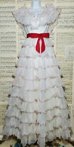 Vintage 1970s Tiered Ruffle Chiffon Tulle Maxi Dress Prom Formal Gone With...