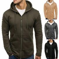 Mens Hoodie Zip Up Coat Hooded Sweatshirt Hoody Pleated Gym Sport Jacket Outwear