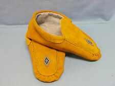 NATIVE AMERICAN BEADED HIDE MOCCASINS 10 INCHES SIMPLE DIAMOND DESIGN, UNISEX
