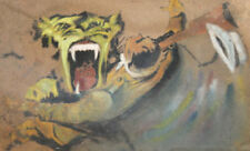 ABSTRACT SURREALIST OIL PAINTING LION
