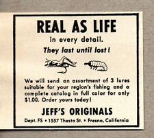 1952 Print Ad Jeff's Originals Fishing Lures Made in Fresno,CA