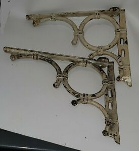 Antique Pair Industrial Cast Iron Sink /Shelf Support Brackets, Old White Paint