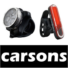 front 3 led & rear back tail USB rechargeable bike lights set kit red white cree