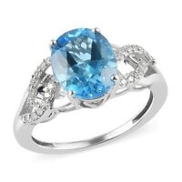 925 Sterling Silver Platinum Over Electric Blue Topaz Zircon Ring Size 7 Ct 3.5