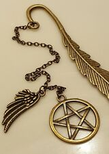 Antique Bronze Wing Star Pentagram Pendant Bookmark Jewelry Gift