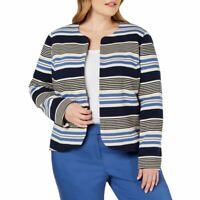 ANNE KLEIN NEW Women's Plus Size Striped Tulip Cotton Jacket Top TEDO