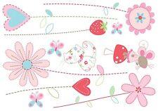 PRETTY LITTLE GARDEN Wall Decals Flowers Hearts Pink Room Decor Stickers Cat