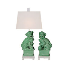 Green Porcelain Pair of Foo Dog Figurine Clear Base Table Lamp 23""
