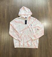 Polo Ralph Lauren Tie Dye Hoodie Sweatshirt Sweater Pink White NWT Men's L