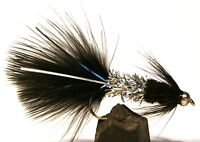 ICE FLIES. Streamer fly, animal bitter, Black. size 2, 4, 6, 8 and 10 (3-pack)
