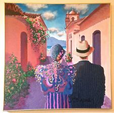 "Otto de Souza Aguiar Original Canvas Acrylic Painting ""Parati"" Signed"