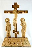 Orthodox table wooden carved Crucifix in Golgotha Calvary