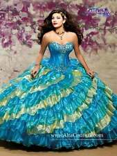 NEW Alta Couture by Mary's XV Quinceanera Dress 4T101 Turquoise/Canary Size 6