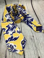 Ralph Lauren Purple Label Silk Tie, Yellow Purple Floral Made In Italy By Hand