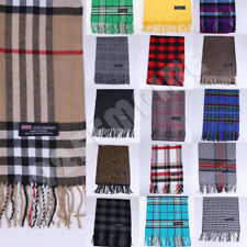 100% CASHMERE Plaid Scarves Warm Solid Plain Winter Check Scarf