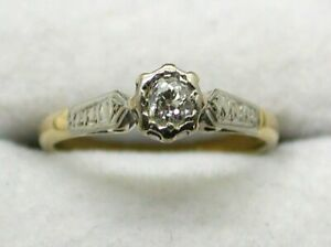 Antique 18 carat Gold And Platinum Diamond Solitaire Ring Size J.1/2