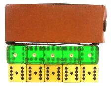 VINTAGE ANTIQUE OLD POKER DICE WITH CASE 10 PIECE SET NUMBERS AND CARD FACE