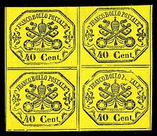PAPAL ROMAN STATES, 40 CENT., YELLOW PAPER, YEAR 1867, BLOCK OF 4, MINT