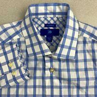 Egara Dress Shirt Mens 16/L Blue White Long Sleeve 100% Cotton Plaid Non-Iron