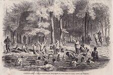 1871  --  VERSAILLES   LES PRISONNIERS DE L ORANGERIE AU BAIN CANAL DE TRIANON