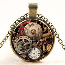 Vintage Compass watch Cabochon Bronze Glass Chain Pendant Necklace #3