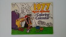 McDonald's 1977 Coloring Calendar vintage Used Coupons