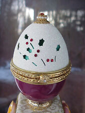 Decorated REAL Goose Egg Christmas Keepsake Trinket Box Collectible Gift Holly