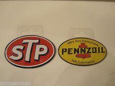 "(2)  PENNZOIL + STP Oil Gas Service Garage Metal 2"" Refrigerator Toolbox Magnets"