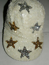 GLITTERING WHITE SEQUIN BASEBALL HAT CAP SILVER & GOLD STARS MATCHES EVERYTHING