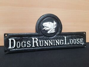 ** VINTAGE STYLE DOGS RUNNING LOOSE CAST IRON SIGN ** ENGLISH BULL TERRIER