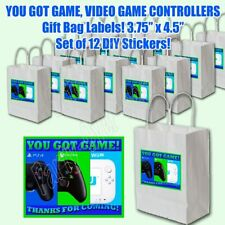 """You Got Game Party Favor Stickers Gift Bag Labels 3.75"""" x 4.75""""-12 pcs"""