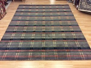 Grey Multi Coloured Striped Handwoven Wool Sitting Room Rug XXL 245x306cm 60%OFF