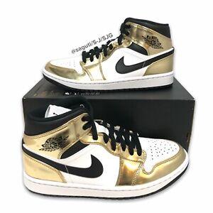 Nike Air Jordan 1 Mid Metallic Gold/Black/White Size Men 8/Women 9.5 DC1420-700