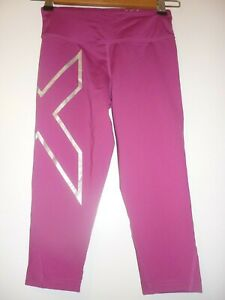 Pink silver cropped compression tights by 2XU size XS BNWT