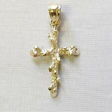 14k Yellow Gold Nugget Cross Pendant / Charm, Made in USA