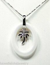 OVAL RING WHITE CERAMIC RHODIUM ON SOLID STER SILVER HAWAIIAN PALM TREE PENDANT