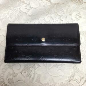 Louis Vuitton Black-Burgundy Patent Leather Bifold Long Wallet 7.5in x 4.5in