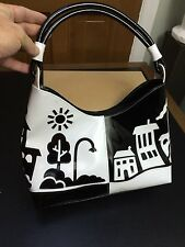 TUA BRACCIALINI Black & White Patent Leather Day & Night Village Purse Handbag